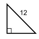 90 degree triangle with a hypotenuse of 12 units