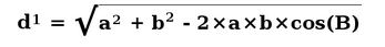 d=square root of a^2 + b^2 -2xaxbxcos(B)
