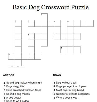 Dog Breed Crossword Puzzles Online