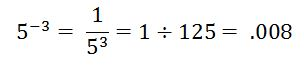 negative exponents 5^-3 =1/5^3=1divided by 125 =.008