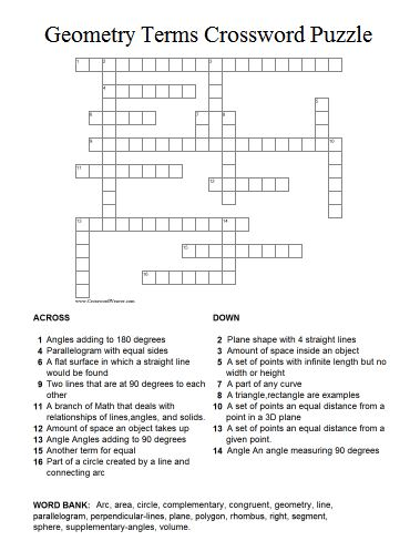 Geometry Terms Crossword Puzzle