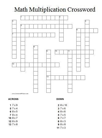 Math Multiplication Crossword Puzzle