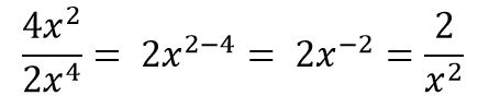 dealing with negative exponents 4x^2/2x^4