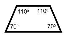 trapezoid with angles of 110 and 70 degrees
