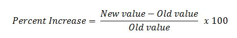 percent increase formula new value-old value/old value