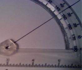 measuring with a protractor/align the base of the angle with bottom of the protractor
