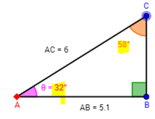 right triangle angles measures = 32 58 90
