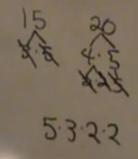 factor tree for 15 and 20
