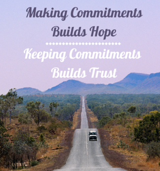 inspirational saying/school motivation/making committments build hope keeping committments build trust