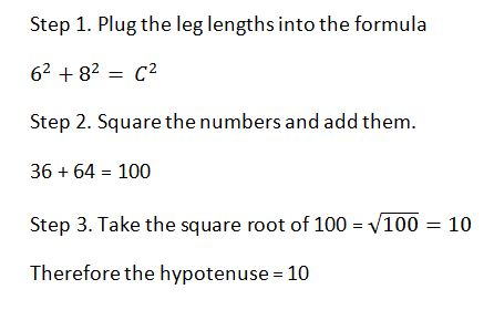 steps for solving for the hypotenuse of a right triangle