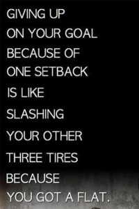 giving up om your goal because of a setback is like slashing your other tires because of a flat