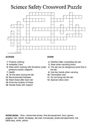 Scienc Safety Crossword Puzzle
