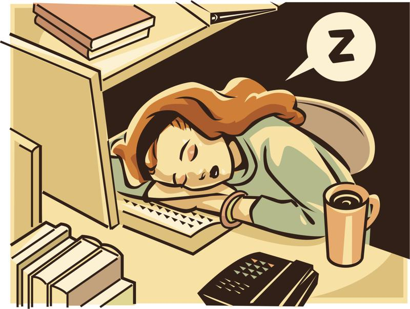 good study habit cartoon lady sleeping on desk study tip 9 get sleep