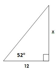 right triangle 52 degree angle